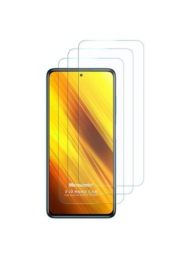 Microsonic Xiaomi Poco X3 Pro Screen Protector Nano Glass Cam Ekran Koruyucu (3 Pack) Renksiz